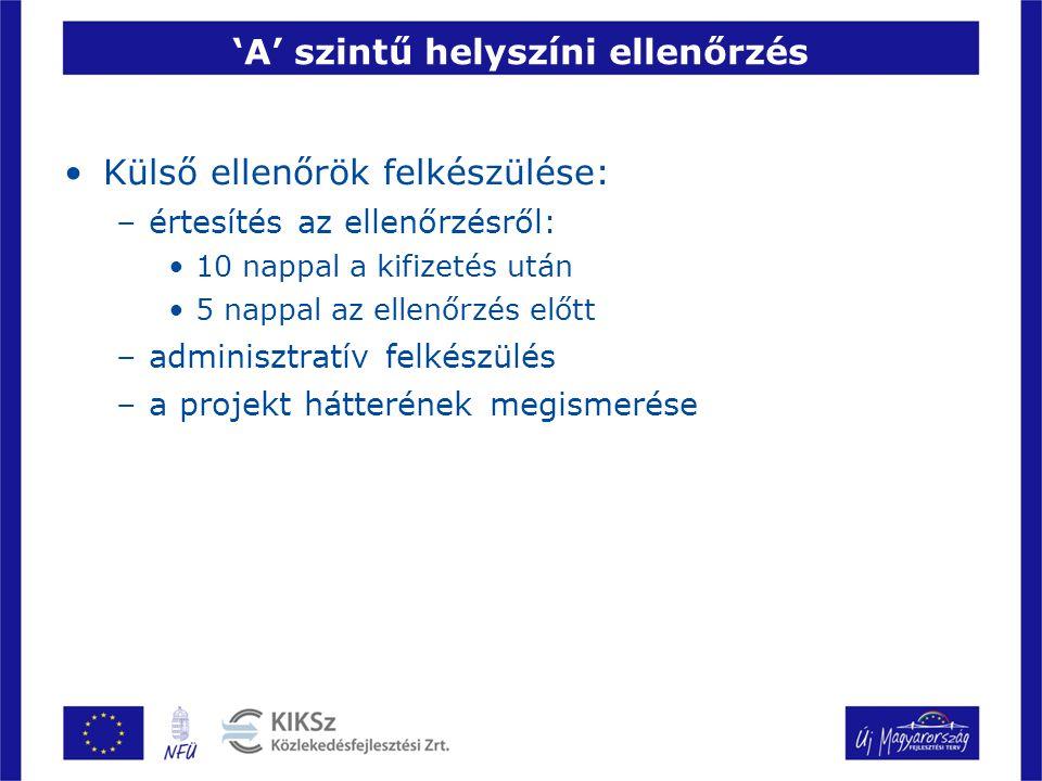 'A' szintű helyszíni ellenőrzés Külső ellenőrök felkészülése: –értesítés az ellenőrzésről: 10 nappal a kifizetés után 5 nappal az ellenőrzés előtt –ad