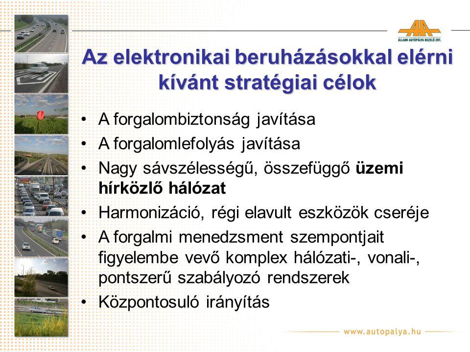 Az elektronikai beruházásokkal elérni kívánt stratégiai célok A forgalombiztonság javítása A forgalomlefolyás javítása Nagy sávszélességű, összefüggő