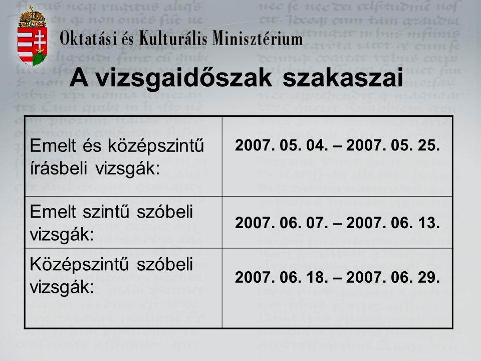A vizsgaidőszak szakaszai Emelt és középszintű írásbeli vizsgák: 2007.