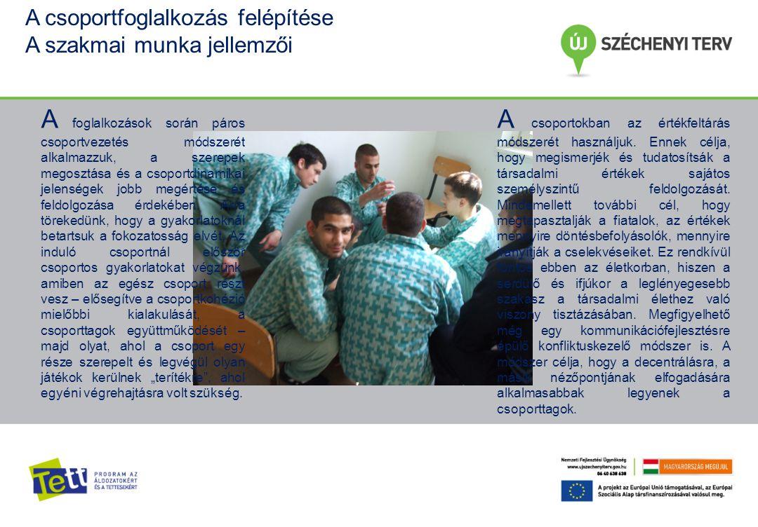 A csoportfoglalkozás felépítése A szakmai munka jellemzői A foglalkozások során páros csoportvezetés módszerét alkalmazzuk, a szerepek megosztása és a csoportdinamikai jelenségek jobb megértése és feldolgozása érdekében.