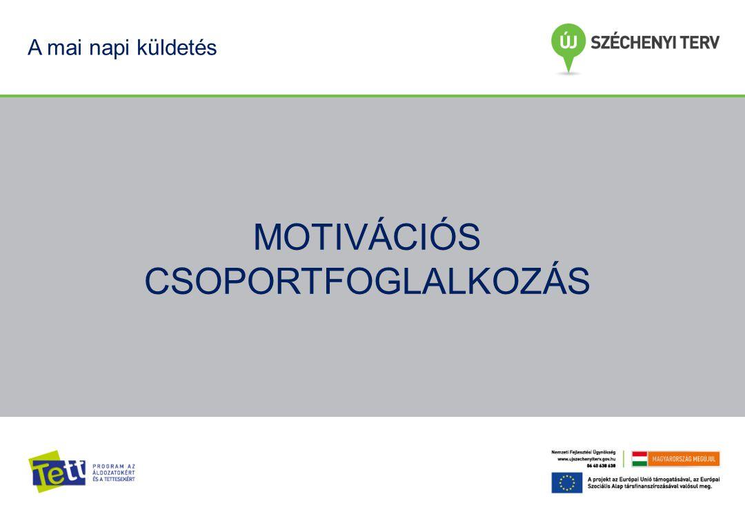 bemutatkozás, ismerkedés információ átadás a csoportmunka megtapasztalása rövid és közép távú célok kitűzése MOTIVÁCIÓ FENNTARTÁS Cél