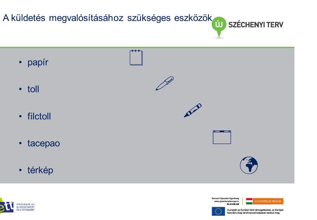 A küldetés megvalósításához szükséges eszközök     papír toll filctoll tacepao térkép