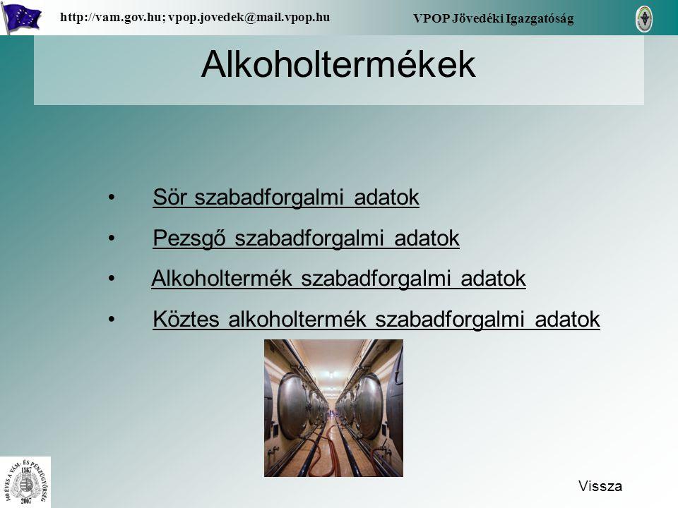 Alkoholtermékek Vissza VPOP Jövedéki Igazgatóság http://vam.gov.hu; vpop.jovedek@mail.vpop.hu Sör szabadforgalmi adatok Pezsgő szabadforgalmi adatok A
