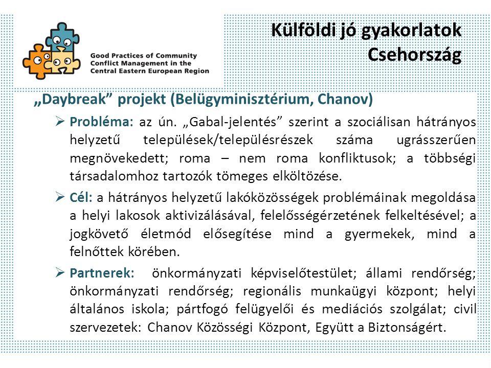 """Külföldi jó gyakorlatok Csehország """" Daybreak"""" projekt (Belügyminisztérium, Chanov)  Probléma: az ún. """"Gabal-jelentés"""" szerint a szociálisan hátrányo"""