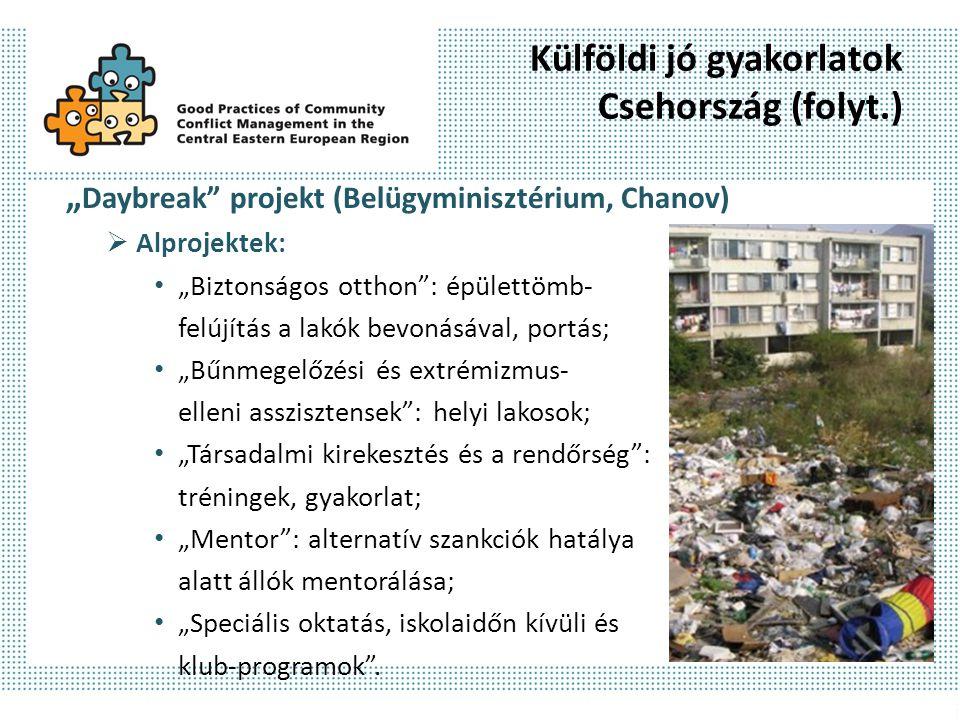 """Külföldi jó gyakorlatok Csehország (folyt.) """" Daybreak"""" projekt (Belügyminisztérium, Chanov)  Alprojektek: """"Biztonságos otthon"""": épülettömb- felújítá"""