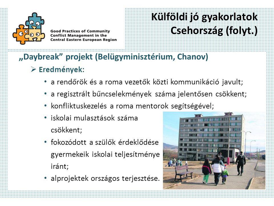 """Külföldi jó gyakorlatok Csehország (folyt.) """" Daybreak"""" projekt (Belügyminisztérium, Chanov)  Eredmények: a rendőrök és a roma vezetők közti kommunik"""