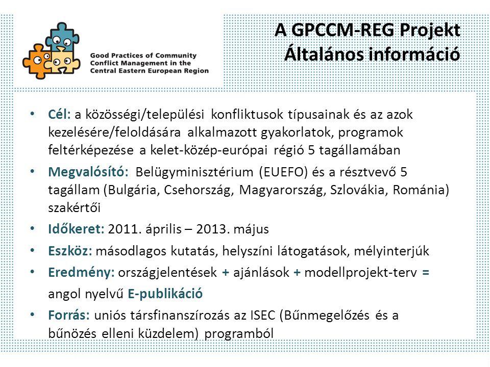 A GPCCM-REG Projekt Általános információ Cél: a közösségi/települési konfliktusok típusainak és az azok kezelésére/feloldására alkalmazott gyakorlatok