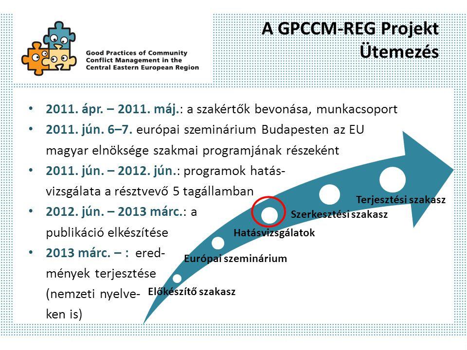 A GPCCM-REG Projekt Ütemezés 2011. ápr. – 2011. máj.: a szakértők bevonása, munkacsoport 2011. jún. 6–7. európai szeminárium Budapesten az EU magyar e