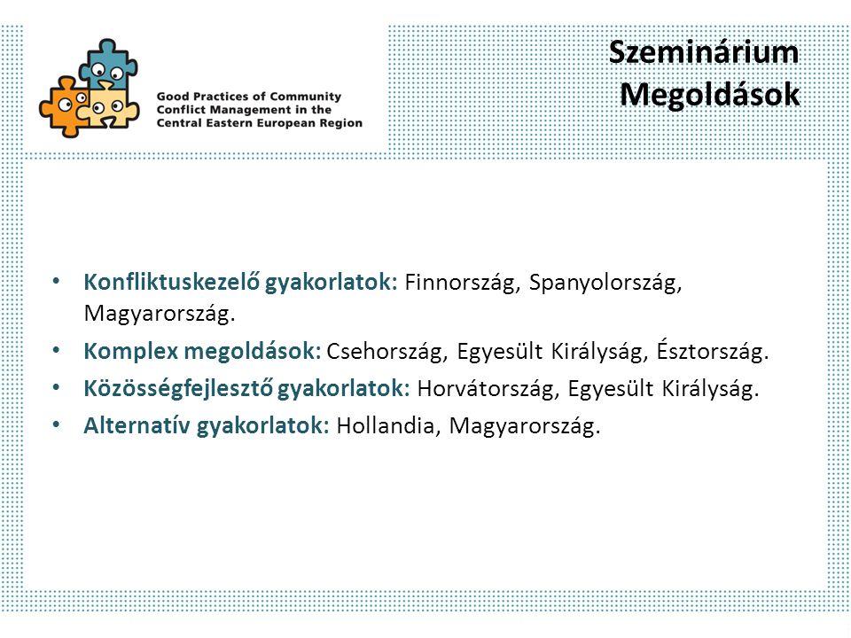 Szeminárium Megoldások Konfliktuskezelő gyakorlatok: Finnország, Spanyolország, Magyarország. Komplex megoldások: Csehország, Egyesült Királyság, Észt