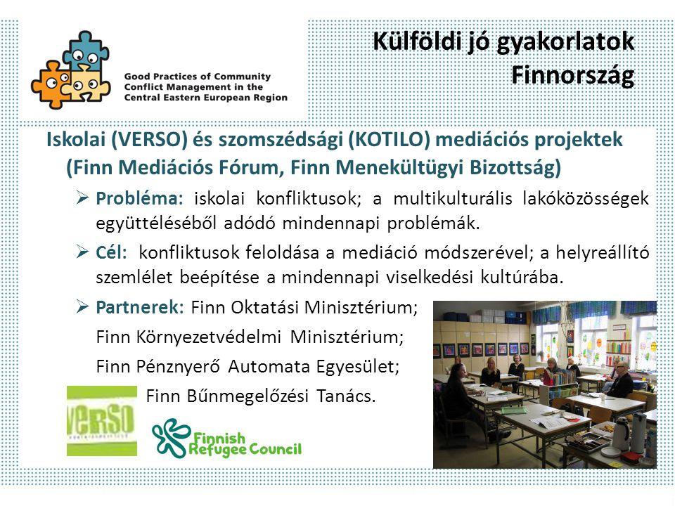 Külföldi jó gyakorlatok Finnország (folyt.) Iskolai (VERSO) és szomszédsági (KOTILO) mediációs projektek (Finn Mediációs Fórum, Finn Menekültügyi Bizottság)  Módszerek: képzés (teljes iskolai személyzet, kortársmediátorok, felnőtt támogatók, szomszédsági mediátorok); konfliktusmegelőzés, mediáció, tanácsadás; továbbképzés.