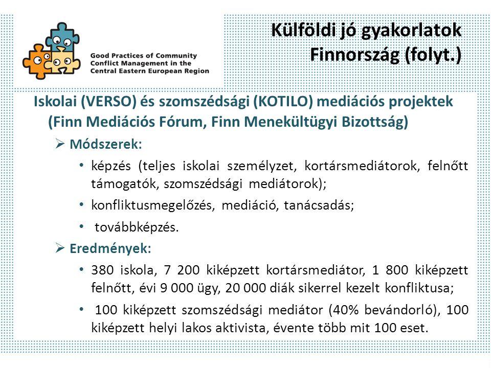 Külföldi jó gyakorlatok Finnország (folyt.) Iskolai (VERSO) és szomszédsági (KOTILO) mediációs projektek (Finn Mediációs Fórum, Finn Menekültügyi Bizo
