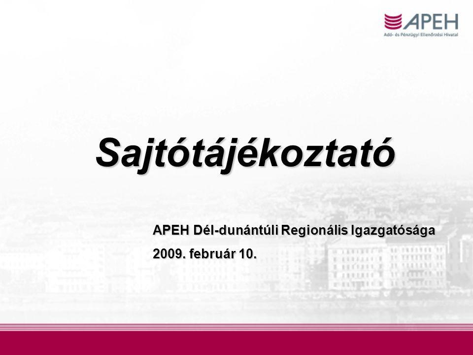 Sajtótájékoztató APEH Dél-dunántúli Regionális Igazgatósága 2009. február 10.