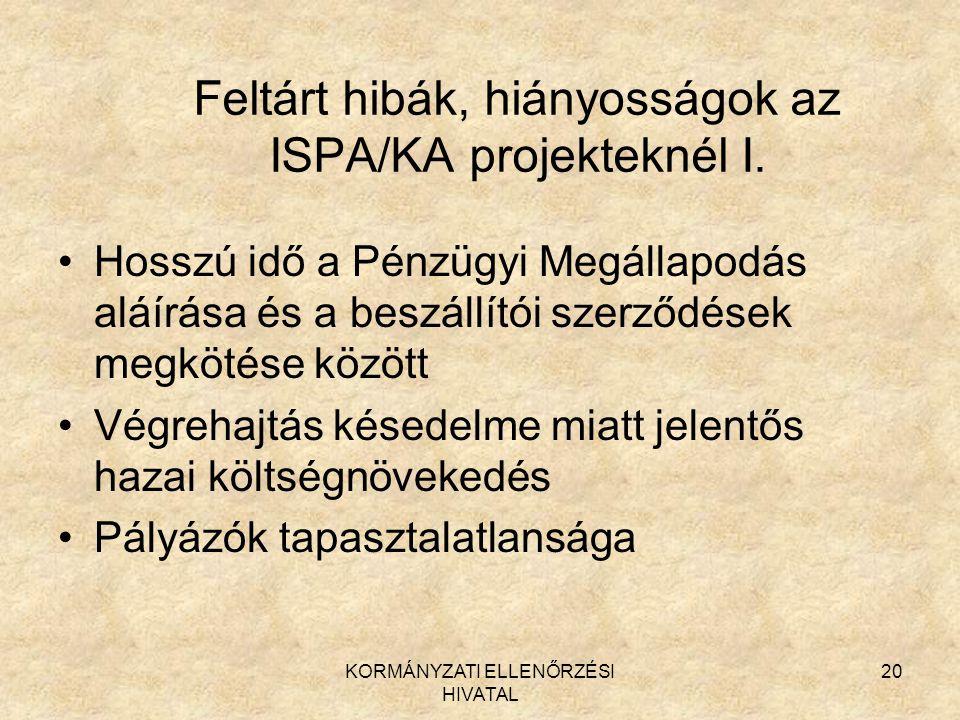 KORMÁNYZATI ELLENŐRZÉSI HIVATAL 20 Feltárt hibák, hiányosságok az ISPA/KA projekteknél I. Hosszú idő a Pénzügyi Megállapodás aláírása és a beszállítói