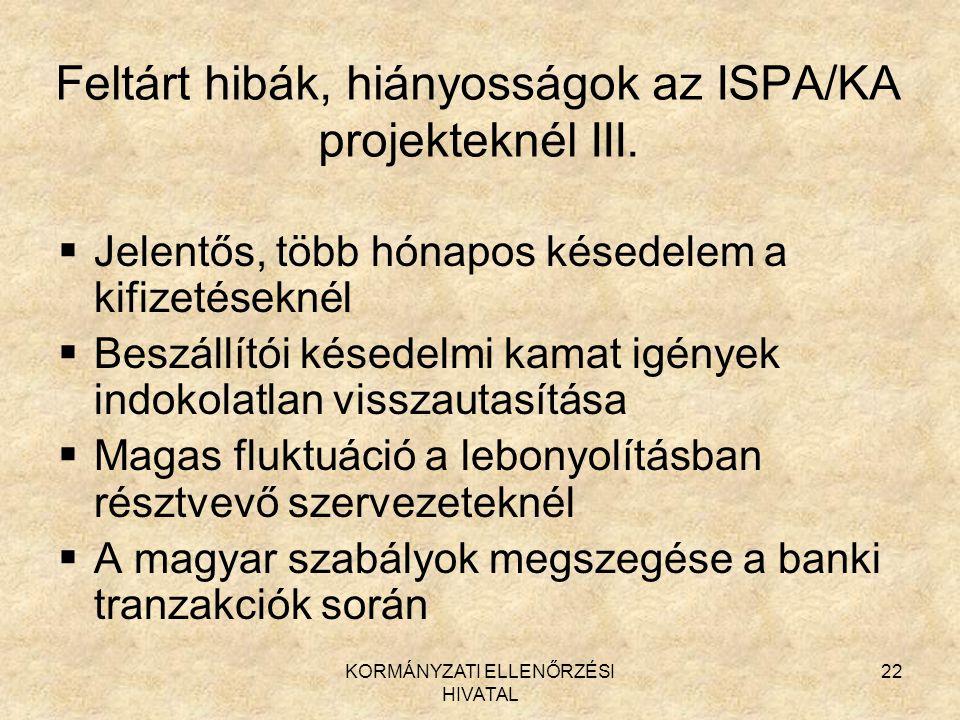 KORMÁNYZATI ELLENŐRZÉSI HIVATAL 22 Feltárt hibák, hiányosságok az ISPA/KA projekteknél III.  Jelentős, több hónapos késedelem a kifizetéseknél  Besz