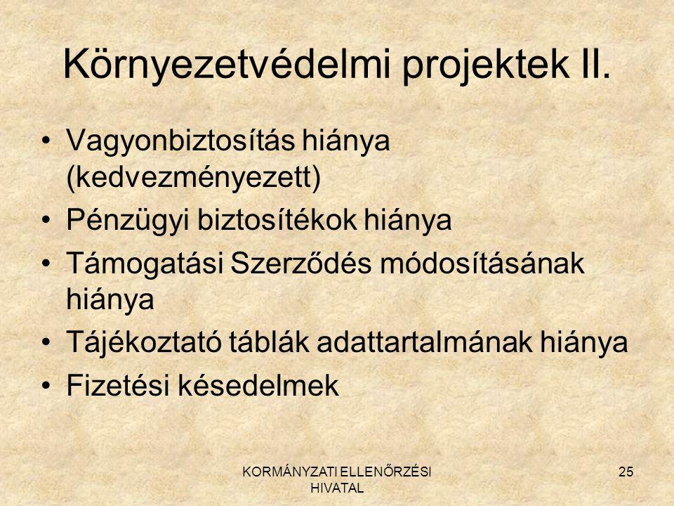 KORMÁNYZATI ELLENŐRZÉSI HIVATAL 25 Környezetvédelmi projektek II.