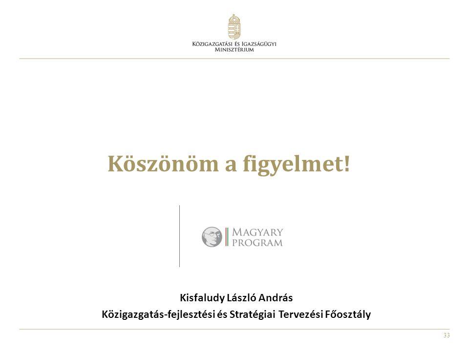 33 Köszönöm a figyelmet! Kisfaludy László András Közigazgatás-fejlesztési és Stratégiai Tervezési Főosztály