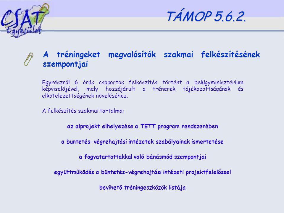 A tréningeket megvalósítók szakmai felkészítésének szempontjai TÁMOP 5.6.2.