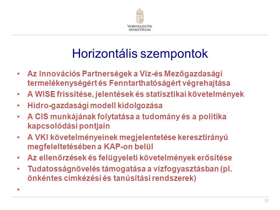 15 Horizontális szempontok Az Innovációs Partnerségek a Víz-és Mezőgazdasági termelékenységért és Fenntarthatóságért végrehajtása A WISE frissítése, jelentések és statisztikai követelmények Hidro-gazdasági modell kidolgozása A CIS munkájának folytatása a tudomány és a politika kapcsolódási pontjain A VKI követelményeinek megjelentetése keresztirányú megfeleltetésében a KAP-on belül Az ellenőrzések és felügyeleti követelmények erősítése Tudatosságnövelés támogatása a vízfogyasztásban (pl.