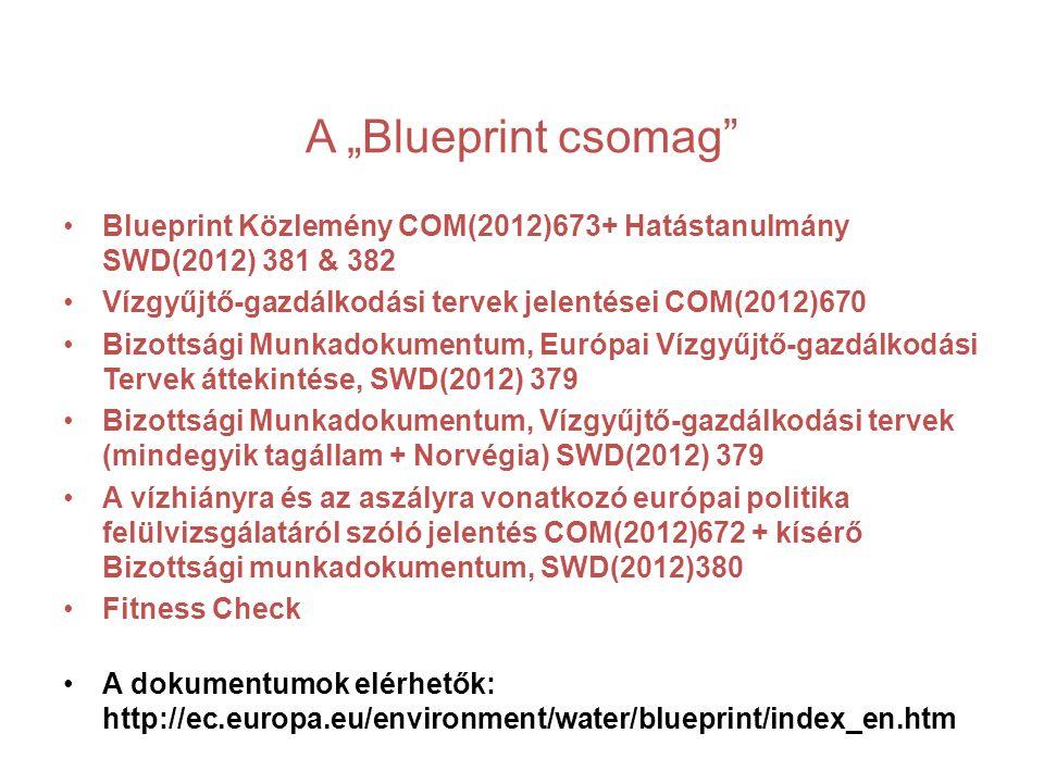 """A """"Blueprint csomag Blueprint Közlemény COM(2012)673+ Hatástanulmány SWD(2012) 381 & 382 Vízgyűjtő-gazdálkodási tervek jelentései COM(2012)670 Bizottsági Munkadokumentum, Európai Vízgyűjtő-gazdálkodási Tervek áttekintése, SWD(2012) 379 Bizottsági Munkadokumentum, Vízgyűjtő-gazdálkodási tervek (mindegyik tagállam + Norvégia) SWD(2012) 379 A vízhiányra és az aszályra vonatkozó európai politika felülvizsgálatáról szóló jelentés COM(2012)672 + kísérő Bizottsági munkadokumentum, SWD(2012)380 Fitness Check A dokumentumok elérhetők: http://ec.europa.eu/environment/water/blueprint/index_en.htm"""