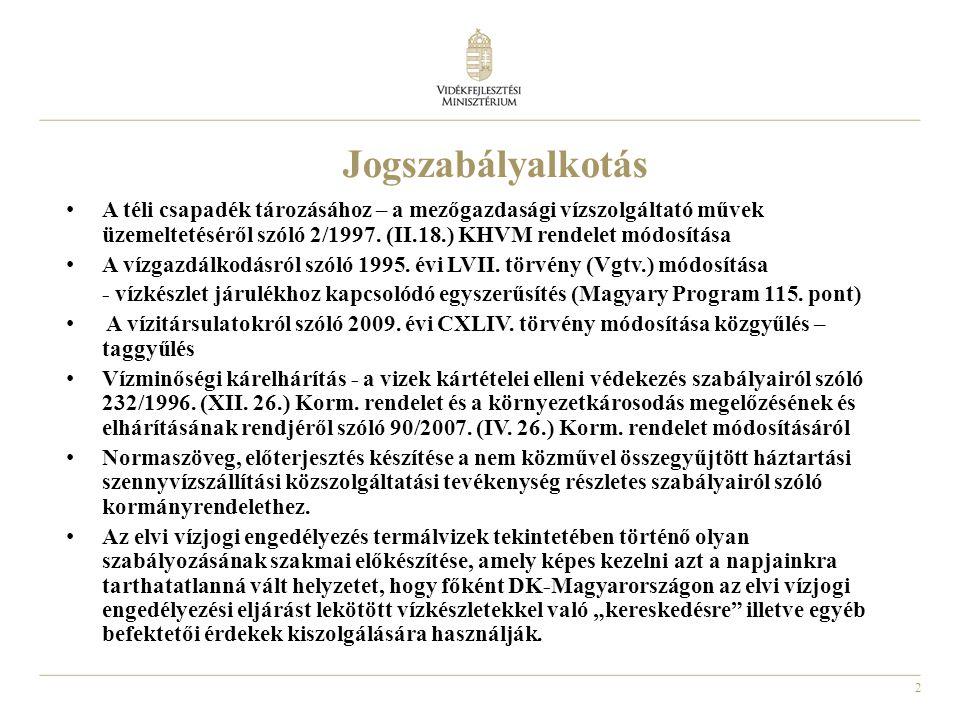 2 Jogszabályalkotás A téli csapadék tározásához – a mezőgazdasági vízszolgáltató művek üzemeltetéséről szóló 2/1997.