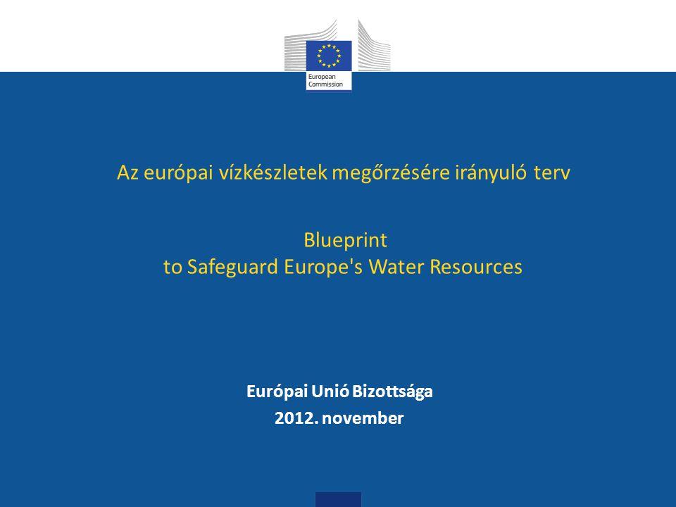 """6 A """"Blueprint folyamat: Célja: az EU vízügyi szabályozás komplett értékelése, áttekintése Idő horizont: 2020, úgy mint az EU 2020 Stratégia Új aspektusok a vízgazdálkodásban: ökológiai szolgáltatások szerepe, klímaváltozás, extremizáció, demográfiai változások, víz-élelmiszer-energia, földhasználatok, vízhiány, az integráció jelentősége, stb."""