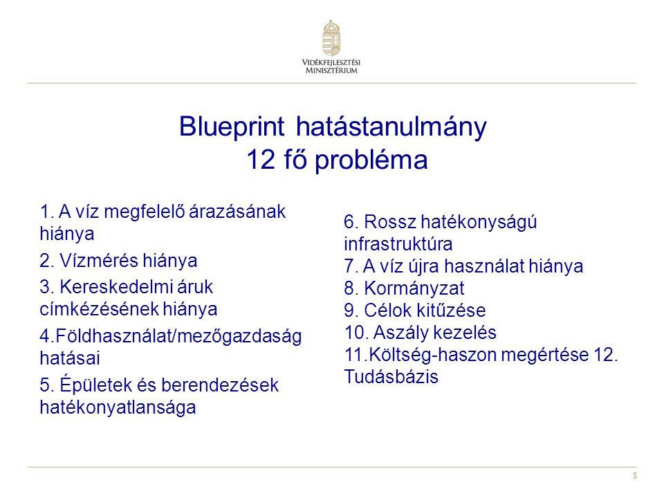 8 Blueprint hatástanulmány 12 fő probléma 1. A víz megfelelő árazásának hiánya 2.
