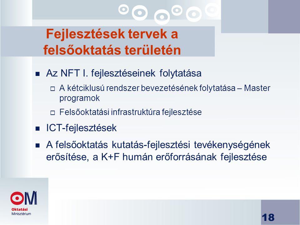 18 Fejlesztések tervek a felsőoktatás területén n Az NFT I.
