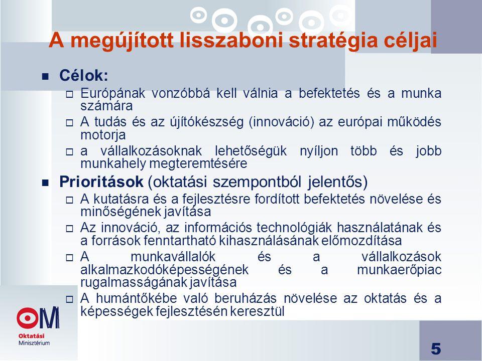 5 A megújított lisszaboni stratégia céljai n Célok:  Európának vonzóbbá kell válnia a befektetés és a munka számára  A tudás és az újítókészség (innováció) az európai működés motorja  a vállalkozásoknak lehetőségük nyíljon több és jobb munkahely megteremtésére n Prioritások (oktatási szempontból jelentős)  A kutatásra és a fejlesztésre fordított befektetés növelése és minőségének javítása  Az innováció, az információs technológiák használatának és a források fenntartható kihasználásának előmozdítása  A munkavállalók és a vállalkozások alkalmazkodóképességének és a munkaerőpiac rugalmasságának javítása  A humántőkébe való beruházás növelése az oktatás és a képességek fejlesztésén keresztül