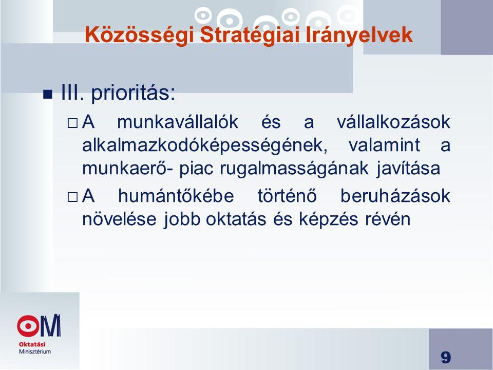 9 Közösségi Stratégiai Irányelvek n III.