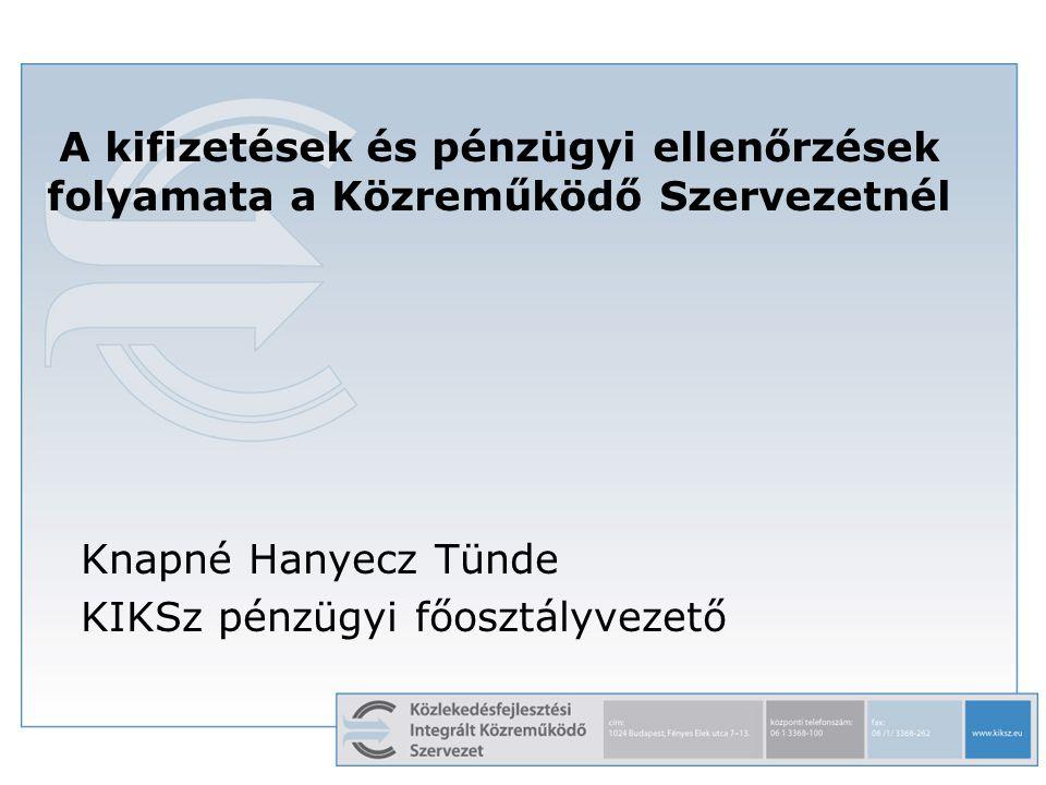 1 A kifizetések és pénzügyi ellenőrzések folyamata a Közreműködő Szervezetnél Knapné Hanyecz Tünde KIKSz pénzügyi főosztályvezető