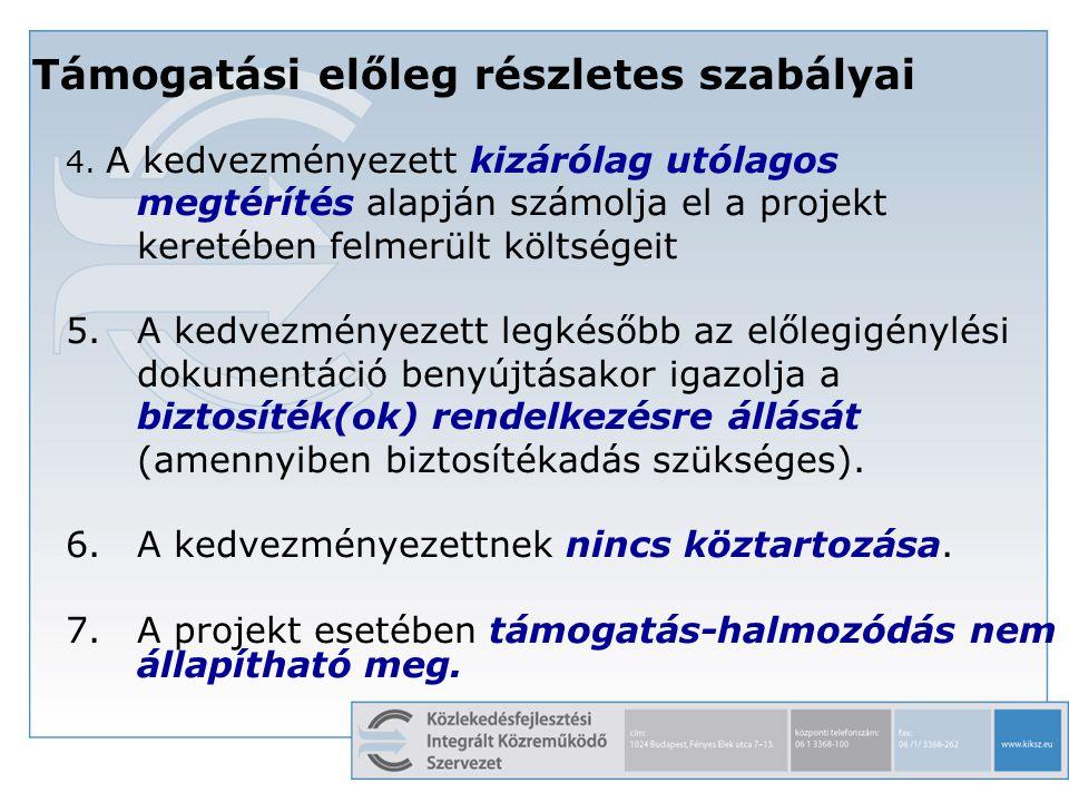 12 Támogatási előleg részletes szabályai 4. A kedvezményezett kizárólag utólagos megtérítés alapján számolja el a projekt keretében felmerült költsége