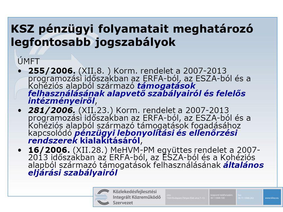 5 KSZ pénzügyi folyamatait meghatározó legfontosabb jogszabályok ÚMFT 255/2006. (XII.8. ) Korm. rendelet a 2007-2013 programozási időszakban az ERFA-b