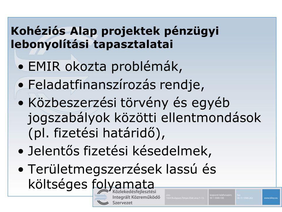 7 EMIR okozta problémák, Feladatfinanszírozás rendje, Közbeszerzési törvény és egyéb jogszabályok közötti ellentmondások (pl. fizetési határidő), Jele