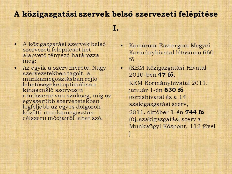 A közigazgatási szervek belső szervezeti felépítése I.