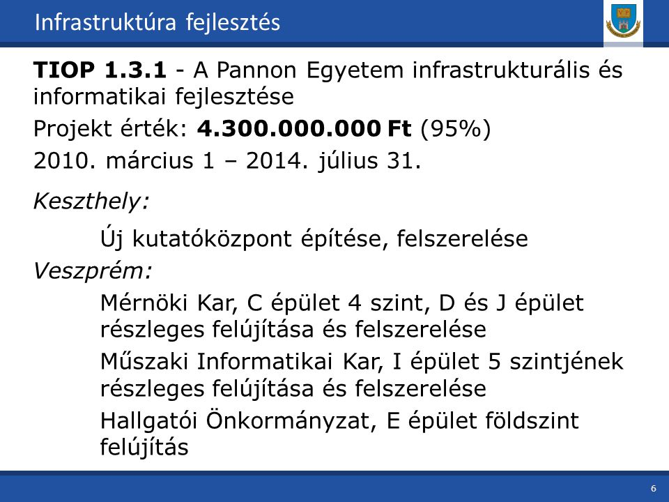 TIOP 1.3.1 - A Pannon Egyetem infrastrukturális és informatikai fejlesztése Projekt érték: 4.300.000.000 Ft (95%) 2010.