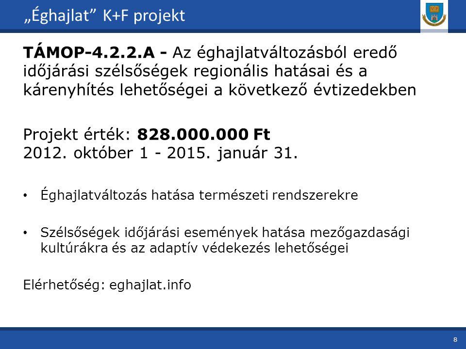 TÁMOP-4.2.2.A - Az éghajlatváltozásból eredő időjárási szélsőségek regionális hatásai és a kárenyhítés lehetőségei a következő évtizedekben Projekt érték: 828.000.000 Ft 2012.