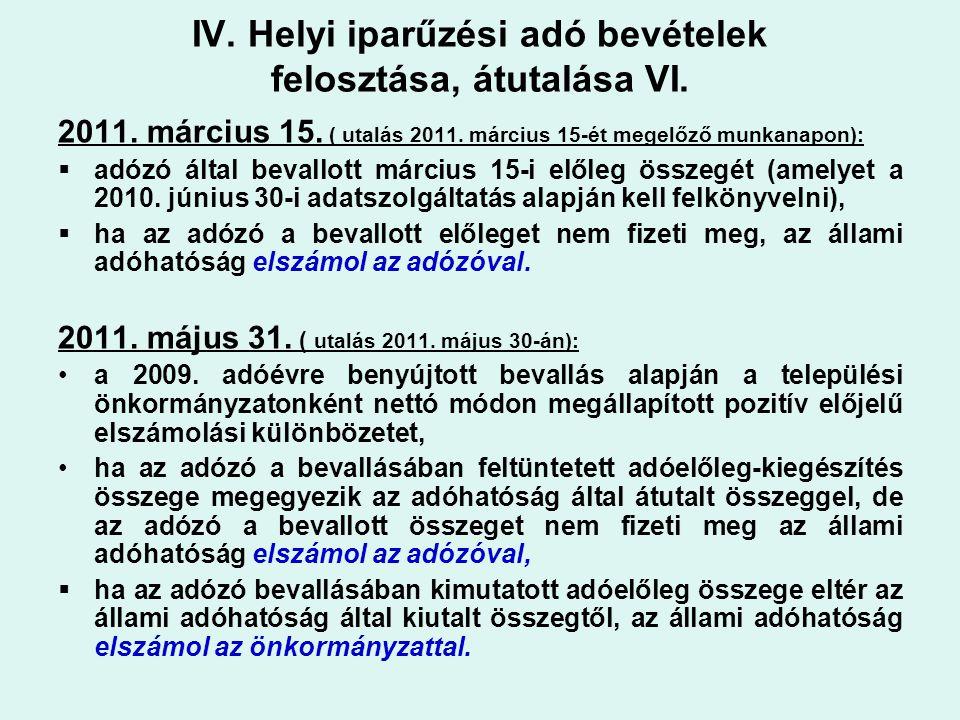 IV. Helyi iparűzési adó bevételek felosztása, átutalása VI. 2011. március 15. ( utalás 2011. március 15-ét megelőző munkanapon):  adózó által bevallo
