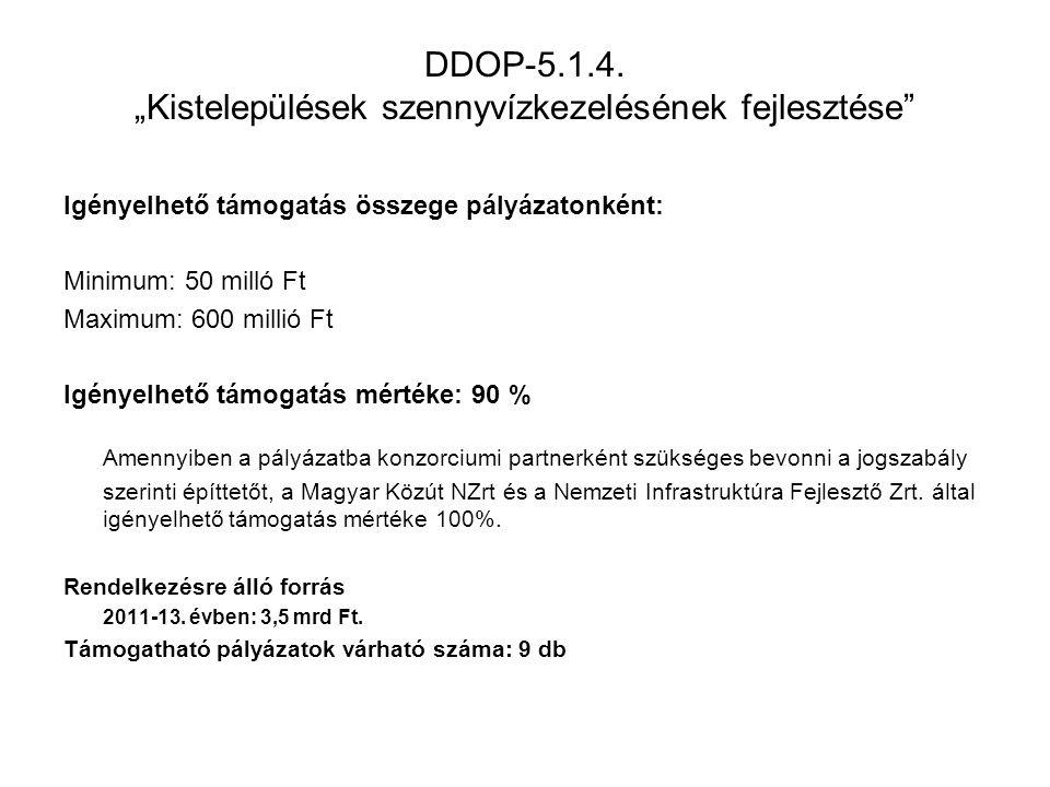 """Benyújtott pályázatok mennyisége, főbb adatok DDOP-5.1.5/B """"Helyi és térségi jelentőségű vízvédelmi rendszerek fejlesztése Benyújtás időszaka: 2011."""