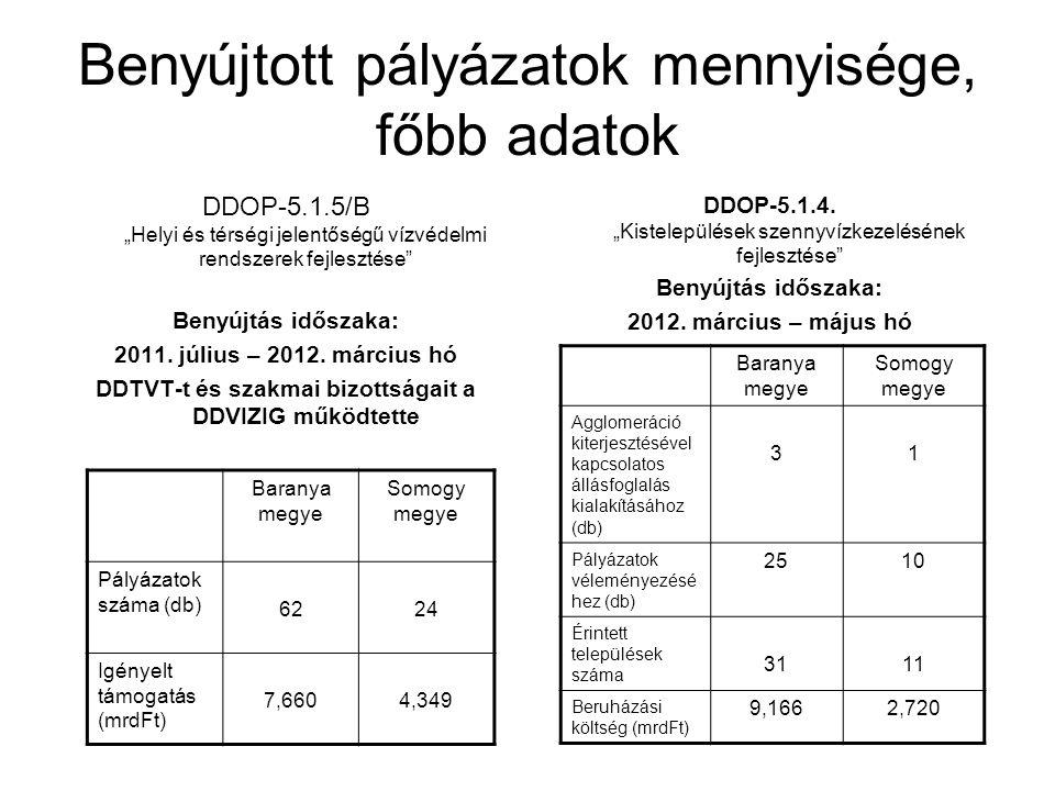 Pályázatokkal kapcsolatos munka Benyújtott pályázatok áttekintése, előzetes javaslat kialakítása a bizottsági ülésre Bizottsági ülés összehívása (Szakmai Bizottsági tagok, tervező, pályázó résztvételével) DDOP-5.1.5/B-11 vízrendezési pályázatok esetében - 2011.