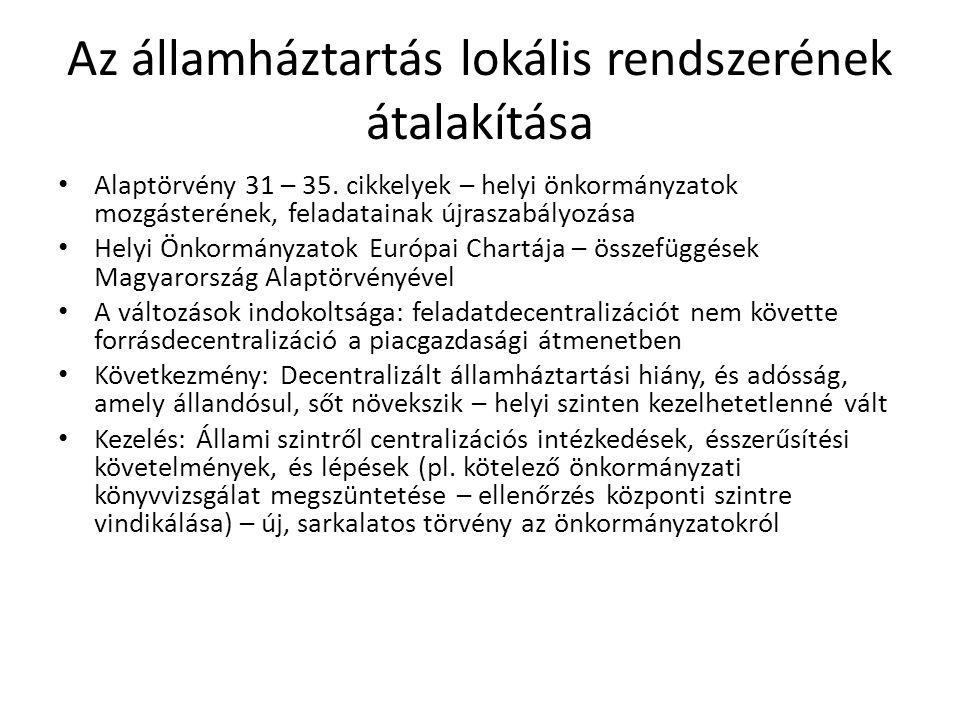 Az államháztartás lokális rendszerének átalakítása Alaptörvény 31 – 35. cikkelyek – helyi önkormányzatok mozgásterének, feladatainak újraszabályozása