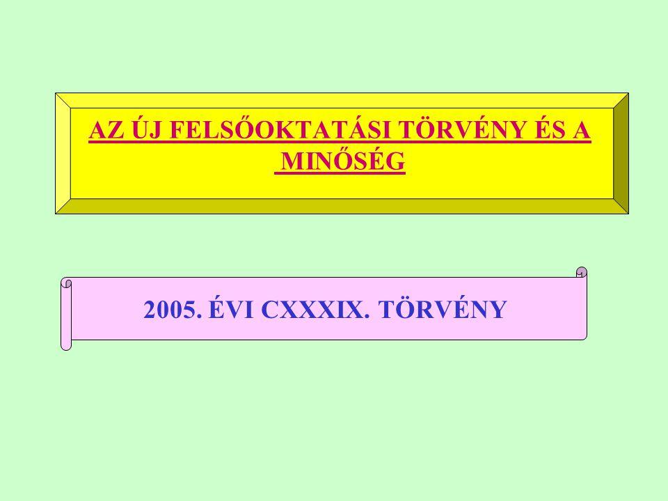 AZ ÚJ FELSŐOKTATÁSI TÖRVÉNY ÉS A MINŐSÉG 2005. ÉVI CXXXIX. TÖRVÉNY