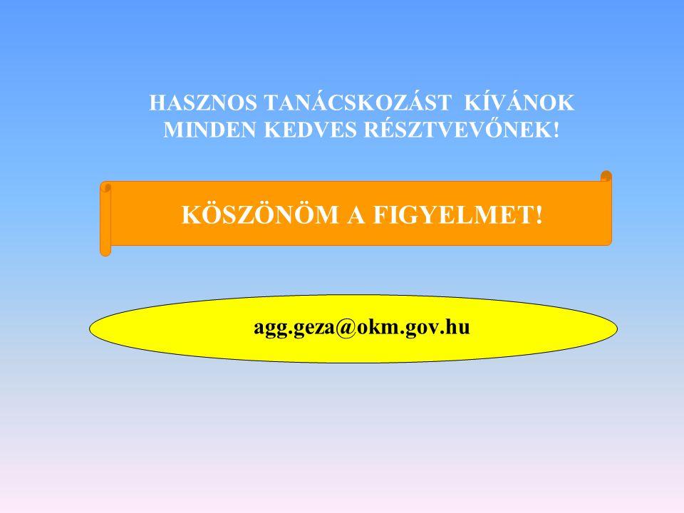 HASZNOS TANÁCSKOZÁST KÍVÁNOK MINDEN KEDVES RÉSZTVEVŐNEK! KÖSZÖNÖM A FIGYELMET! agg.geza@okm.gov.hu