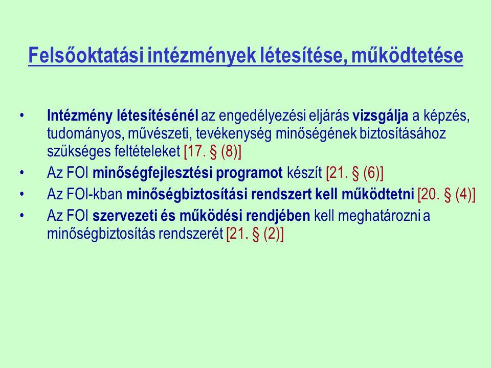 KORMÁNYZATI SZEREPKÖRÖK A Kormány: FOI tevékenységének elismerése céljából kormány rendeletben Felsőoktatási Minőségi Díjat alapít [108.