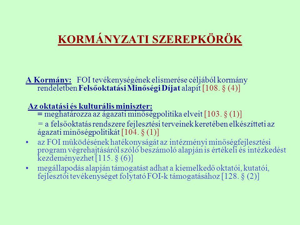 KORMÁNYZATI SZEREPKÖRÖK A Kormány: FOI tevékenységének elismerése céljából kormány rendeletben Felsőoktatási Minőségi Díjat alapít [108. § (4)] Az okt