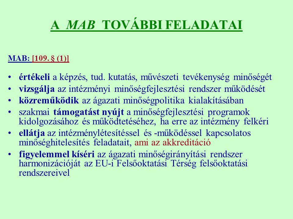 A MAB TOVÁBBI FELADATAI MAB: [109.§ (1)] értékeli a képzés, tud.