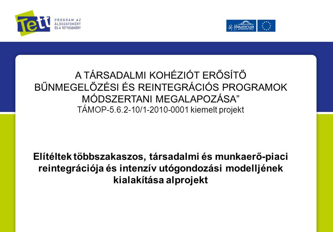 A TÁRSADALMI KOHÉZIÓT ERŐSÍTŐ BŰNMEGELŐZÉSI ÉS REINTEGRÁCIÓS PROGRAMOK MÓDSZERTANI MEGALAPOZÁSA TÁMOP-5.6.2-10/1-2010-0001 kiemelt projekt Elítéltek többszakaszos, társadalmi és munkaerő-piaci reintegrációja és intenzív utógondozási modelljének kialakítása alprojekt