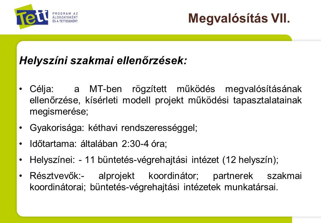 Megvalósítás VII. Helyszíni szakmai ellenőrzések: Célja: a MT-ben rögzített működés megvalósításának ellenőrzése, kísérleti modell projekt működési ta