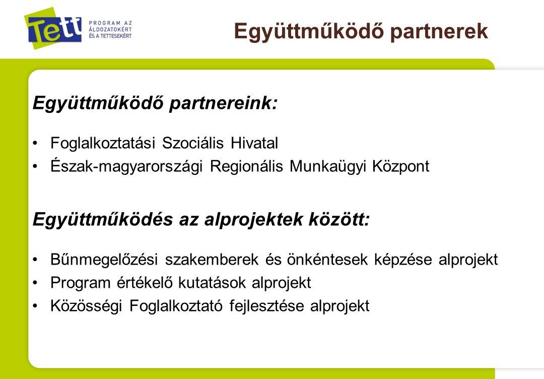 Együttműködő partnerek Együttműködő partnereink: Foglalkoztatási Szociális Hivatal Észak-magyarországi Regionális Munkaügyi Központ Együttműködés az alprojektek között: Bűnmegelőzési szakemberek és önkéntesek képzése alprojekt Program értékelő kutatások alprojekt Közösségi Foglalkoztató fejlesztése alprojekt