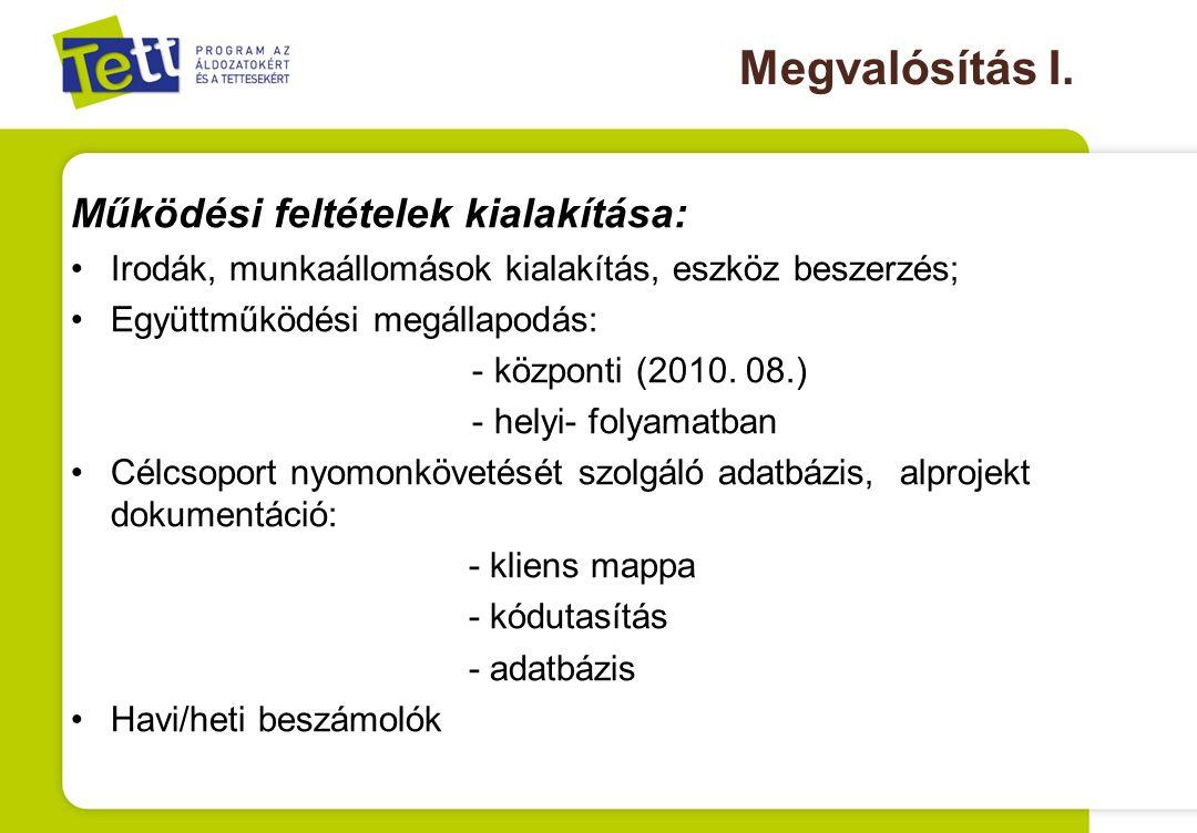 Megvalósítás I. Működési feltételek kialakítása: Irodák, munkaállomások kialakítás, eszköz beszerzés; Együttműködési megállapodás: - központi (2010. 0