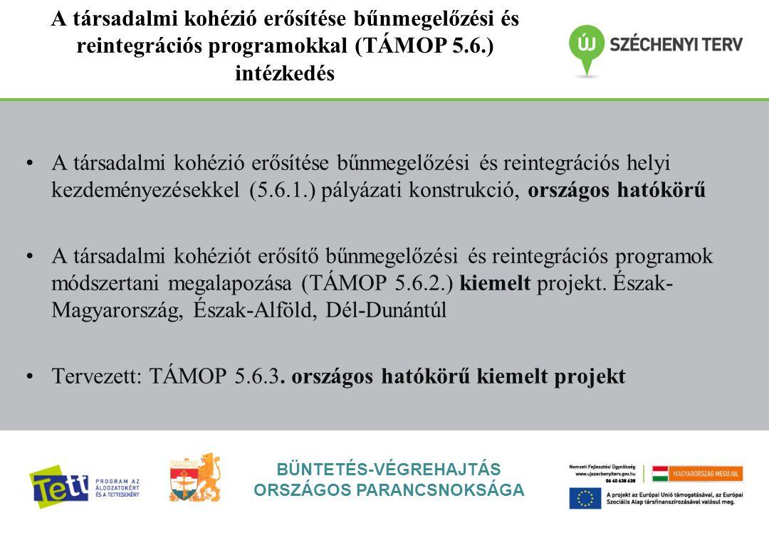 BÜNTETÉS-VÉGREHAJTÁS ORSZÁGOS PARANCSNOKSÁGA A társadalmi kohézió erősítése bűnmegelőzési és reintegrációs programokkal (TÁMOP 5.6.) intézkedés A társadalmi kohézió erősítése bűnmegelőzési és reintegrációs helyi kezdeményezésekkel (5.6.1.) pályázati konstrukció, országos hatókörű A társadalmi kohéziót erősítő bűnmegelőzési és reintegrációs programok módszertani megalapozása (TÁMOP 5.6.2.) kiemelt projekt.